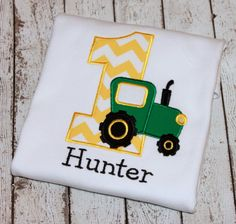 Boy's Tractor Birthday Shirt Available in by thesimplyadorable