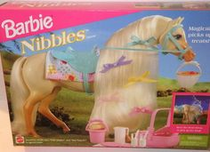Barbie Nibbles Horse (1995). I have her still with her barn and her saddle and most of the other things. Lost the blanket & bridle I think. -Emily