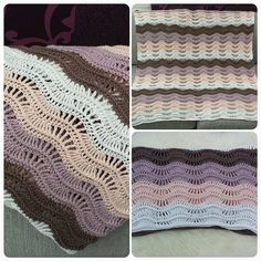 Crocheted ripple baby blanket. Pastel colors. Crocheted whit hook size 4 and 8/4 cotton yarn.