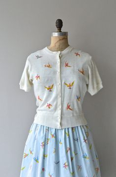 Diving Swallows dress and cardigan vintage 1950s by DearGolden