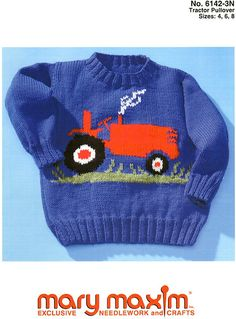 Use Mary Maxim DK/Sport Weight yarn to knit this sweater.