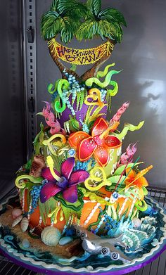 Island Holiday Cake--I want this cake for my next birthday. I think this one is a WOW factor :) Gorgeous Cakes, Pretty Cakes, Cute Cakes, Amazing Cakes, Crazy Cakes, Fancy Cakes, Pink Cakes, Unique Cakes, Creative Cakes