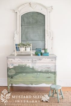 "I keep thinking that chalkboards and chalk art are ""on their way out"" as far as trends go, but then I find a new way to love them. Did you know that milk paint can be used as a ""chalkboard paint""?  Well, this post is my way of telling you it can! I learned this a few years ago when I was working on a hand painted dresser.  I like the chalk out the designs prior to painting them, so I know I like the look, movement, symmetry, etc.  As I was working on the piece, I kept wiping the chalk away…"