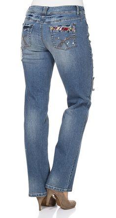 Typ , Stretch-5-Pocket-Jeans, |Material , Einsätze: 100% Polyester., |Materialzusammensetzung , 98% Baumwolle, 2% Elasthan, |Waschung , blue Denim, |Beinform , gerade Form, |Passform , gerade Form, |Optik , Coole Jeans. Mit kontrastfarbenen Einsätzen, |Innenbeinlänge , N-Gr. 82,5 cm, K-Gr. 77,5 cm, L-Gr. 89,5 cm, | ...