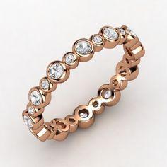 wedding band?? 14K Rose Gold Ring with White Sapphire   Heartbeat Band   Gemvara