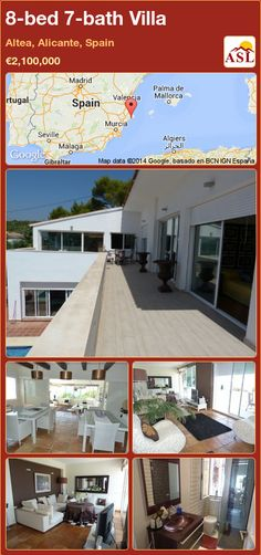 The villa is situated in Altea (ALICANTE). The villa has eight bedrooms. The villa has a total of seven bathrooms. It has a swimming pool. Murcia, Altea, Alicante Spain, Swimming Pools, Spanish, Villa, Construction, Bathroom, Bed