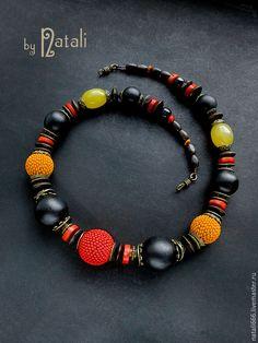 """Купить Бусы """"Африканский сувенир"""" - дерево, коралл, агат, чешский бисер - африка, африканский стиль"""