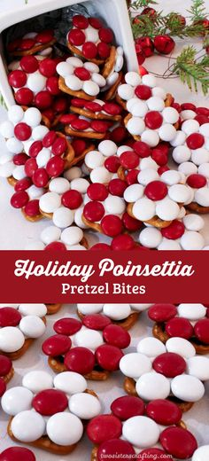 These adorable Holiday Poinsettia Pretzel Bites will be everyones favorite Christmas Treat - so easy to make and so delicious. They are yummy bites of Holiday themed sweet and salty goodness. You wont be sorry if you add these colorful treats to your list Best Christmas Desserts, Holiday Snacks, Christmas Party Food, Christmas Cooking, Christmas Goodies, Christmas Holidays, Holiday Recipes, Christmas Ideas, Christmas Candy Gifts