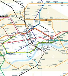 London Underground map geographically accurate by Mark Noad.