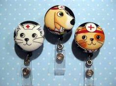 Fabric Button Badge Reel - Retractable ID cute FUN BADGE DOCTOR NURSE | Nancym4 - Accessories on ArtFire