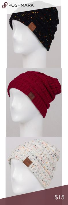 ✨ Coming Soon - Knit Slouchy Beanie ✨ Will be available soon! Using this post to see interest. Comes in three colors: black mix, white mix and burgundy. More pictures will be up once available! Comment with what color you're interested in. Accessories Hats
