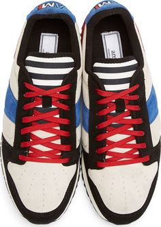 Blue & Red Suede Sneakers by Alexandre Matiussi. Low-top panelled suede…