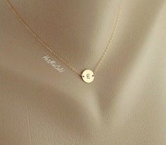 Monogram Necklace GOLD Initial Disc Charm Necklace by hotmixcold, $28.00