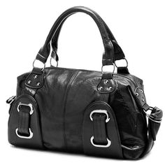 $25.50 Bags like this can make workday ensembles look a lot more stylish and elegant. This satchel is a classy and simple bowling style handbag that will never go out of style. The well-rounded, go-with-anything purse features double shoulder straps and bold silver hardware which make this fashion fo...