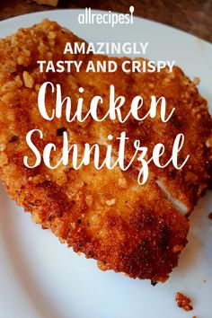 Tasty and Crispy Chicken Schnitzel Tasty and easy to make. Kids love it and you all will want more! Amazingly Tasty and Crispy Chicken Schnitzel Amazingly Tasty and Crispy Chicken Schnitzel Schnitzel Recipes, Chicken Schnitzel, Baked Chicken Cutlets, German Schnitzel, Turkey Recipes, Meat Recipes, Cooking Recipes, German Food Recipes, Chicken