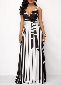 Stripe Print Spaghetti Strap Belted Maxi Dress | Rotita.com - USD $32.15