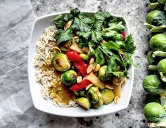 Stir Fried Brussels Sprouts with a Ginger & Lemongrass Sauce