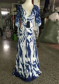 Blue Floral Draped Plunging Neckline Floor Length Maxi Dress