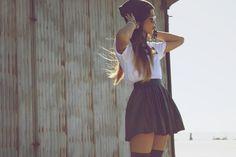 skater skirt over basic white top/ love it <3