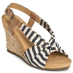 cute striped canvas wedges (also in red).  Love with red accessories for #july4  The Aerosoles Plush Pillow wedge sandal in Blue stripe #shoes #sandals.