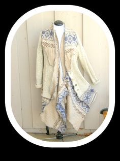 One of a Kind Bohemian Sweater Coat Cardigan by JacketsbyJahne, $150.00