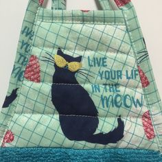 Black Cat Towel,Cat Kitchen Towel,Teal Towel,Cat Decor,Kitchen Decor,Kitty Tea Towel,Hand Towel,Dish Towel,Birthday Gift,Hostess Gift,Kitty by thestuffedcat on Etsy