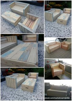 Little childrens lounge set made out of recycled pallet wood. For more information check out my Facebook page: https://www.facebook.com/marksklusprojecten