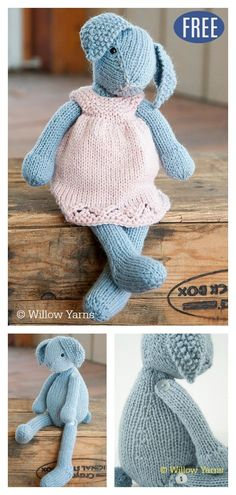 This Amigurumi Bunny Rabbit Free Knitting Pattern is so cute and any kid who receives one will enjoy cuddling with it all year long. Knitted Doll Patterns, Knitted Dolls, Knitting Patterns Free, Free Knitting, Baby Knitting, Ty Beanie Boos, Crochet Rabbit Free Pattern, Amigurumi For Beginners, Knitted Animals