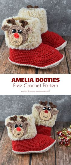 Winter Booties Free Crochet Patterns Amelia Booties Free Crochet Pattern These booties are easy to make easy to put on and take off and are airy enough that your feet won. Christmas Crochet Patterns, Holiday Crochet, Crochet Bebe, Free Crochet, Knit Crochet, Crochet Boots, Crochet Baby Booties, Crochet Slippers, Baby Girl Patterns