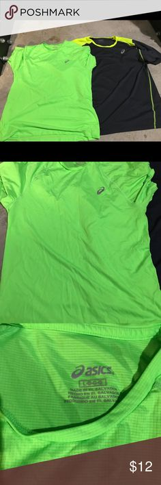 Asics Men's Short Sleeve Shirt Bundle Two lightweight multi use shorts. One is a neon green and one is grey with yellow accents. Asics Shirts Tees - Short Sleeve