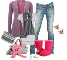 """cutest Uggs ever"" by shauna-rogers on Polyvore    Eeeeeeee!!!!  Love, love, love!  Those ARE the cutest Uggs ever, and the purse is adorable, and the sweater is adorable!  Altogether is super freaking cute and fabulous.  :)"