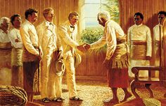 Missionaries meeting the king of Tonga- In Elders Brigham Smoot and Alva Butler met with King George Tupou I and received permission to preach the gospel among his people. Meeting the king of Tonga by Clark Kelley Price © IRI Lds Church, Church Ideas, Polynesian Dance, Fhe Lessons, Lds Art, Doctrine And Covenants, Church History, Cultural Center, Tonga
