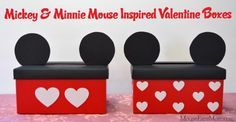 Mickey and Minnie Mouse Valentine Boxes - fun craft for a Disney-focused Valentine\'s Day!