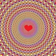 """Valentine's Day - {{{{{{{{{ """"Love the Vibrations"""" }}}}}}}}}} - Great Optical Illusion Heart Art, Love Heart, Heart Pics, Foto 3d, Les Chakras, Image 3d, Inspirational Quotes Pictures, Op Art, Fractal Art"""