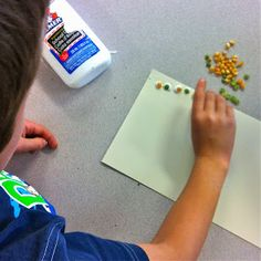 Fall pattern strips with popcorn kernels and dried split peas {math & art!}