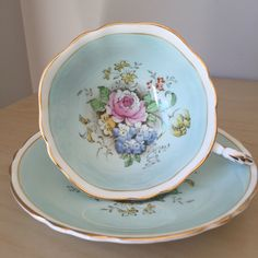 Paragon Light Blue Floral Vintage Teacup and Saucer, Hand Painted Flower Tea Cup and Saucer, English China by CupandOwl on Etsy