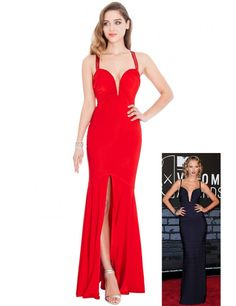 Plunge Neck Front Split Maxi Dress - Red
