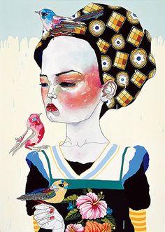 My current favorite artist: Del Kathryn Barton Women Birds Illustration Animals Surreal Del Kathryn Barton, Art And Illustration, Illustration Animals, Portraits, Australian Artists, Bird Art, Oeuvre D'art, Art Inspo, Painting & Drawing