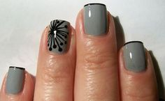 Modern Dandelion Nail Art-I would like it better in different colors.probably not so dark :) graynails : Modern Dandelion Nail Art-I would like it better in different colors.probably not so dark :) graynails Fancy Nails, Love Nails, How To Do Nails, Pretty Nails, Classy Nails, Simple Nails, Elegant Nails, Stylish Nails, Dandelion Nail Art