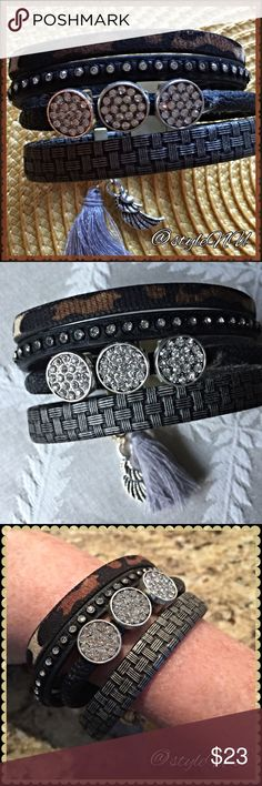 New Listing  Chunky bracelet This chic bracelet is multi layered, faux leather rhinestone chunky tassel bracelet. It is a wrap bracelet. 19CM in Length and weighs .090KG. styleNU Jewelry Bracelets