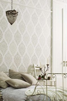 Damask Wallpaper today is still popular among decorators for it's traditional yet modern look. With many variations to choose from, damask wallpaper has something for everyone. Damask Wallpaper, Room Wallpaper, Pattern Wallpaper, Wallpaper Online, Ornament Tapete, Prestigious Textiles, Inspirational Wallpapers, White Damask, Decor Styles