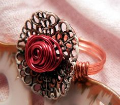Handmade copper filagree wire rose ring, size 8. By Leah Hoffman's Jewelry Designs on Goodsmiths.