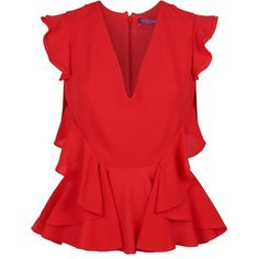 Alexander McQueen Ruffle V-Neck Top ($1,105) ❤ liked on Polyvore featuring tops, red ruffle sweater, red top, plunge tops, flounce tops and red v neck sweater