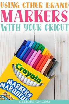 Did you know that you can use other pens and markers than the Cricut brand in your machine? A budget-friendly solution is to use Crayola markers. I did the test for you and I will show you how to install them easily in your Cricut in this tutorial. You'll also find out how to find single line fonts and images to use with your pens and markers! #cricutpens #crayola #cricuttutorials