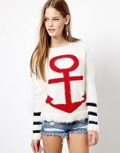 fluffy anchor sweater (nautical trend)