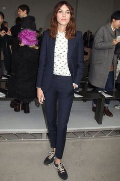#AlexaChung. #navy #tailored #trousersuit #blazer #polkadot #whiteshirt #fashion #style