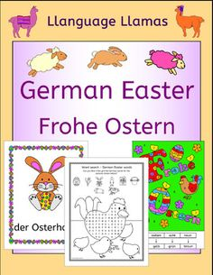 This 27 page pack contains resources and activities to teach German words for talking about Easter. The vocabulary set includes: das Kken, das Osterei, der Korb, die Karte, der Osterhase, das Lamm, die Ostereiersuche, Frohe Ostern, das Nest, die Osterglocke.The pack comprises:*  10 color flashcards/posters*  Write Around the Room activity b/w*  Anagram puzzle plus answer key b/w*  Frohe Ostern flip book*  Crossword puzzle (2 versions - one with initial letters given to provide for…