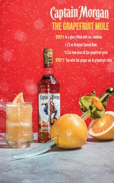 Try our Grapefruit Mule using Captain Morgan Original Spiced Rum, lime juice, grapefruit juice, ginger ale, and a grapefruit slice for garnish. Check out more Captain Morgan rum drink recipes. Holiday Drinks, Party Drinks, Summer Drinks, Cocktail Drinks, Fun Drinks, Cocktail Recipes, Alcoholic Drinks, Beverages, Cocktails