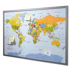 Pinnwand, Weltkarte, Europa, Kork, Kunststoff Vorderansicht