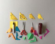 schaeresteipapier: Die bunten Vögel bekommen ihr eigenes Vogelhäuschen! Papier Kind, Diy And Crafts, Kindergarten, Stationery, Winter, Papercraft, Spring, Paper Birds, Colored Paper